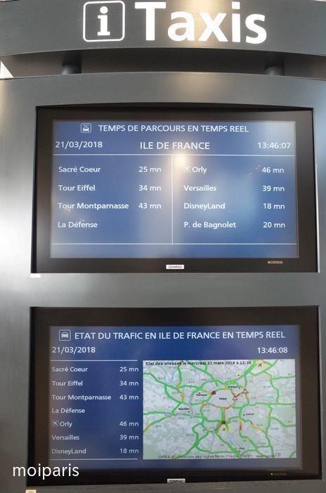 タクシー所要時間が表示されるモニター