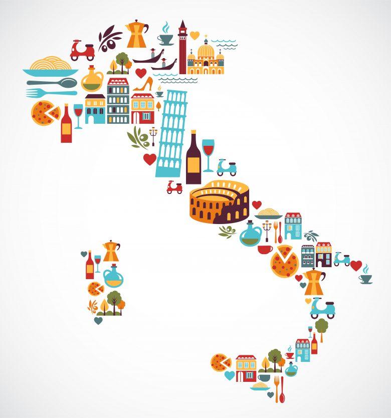 南北に細長いイタリア国土