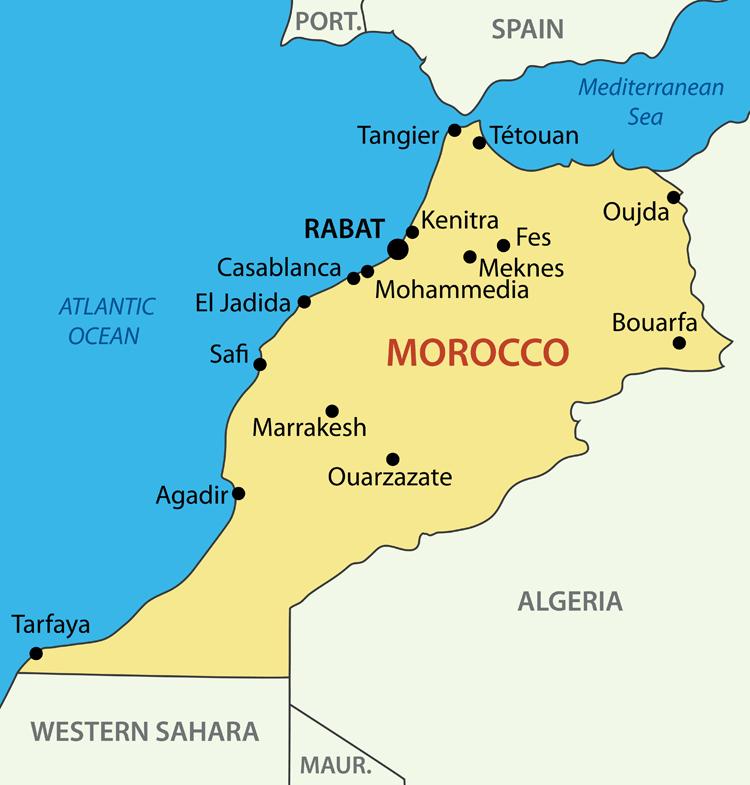 モロッコの地図