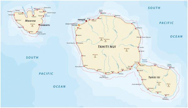 タヒチ島の地図