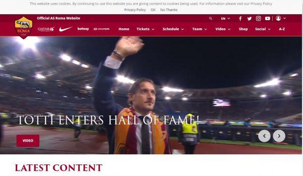 ASローマのオフィシャルサイト
