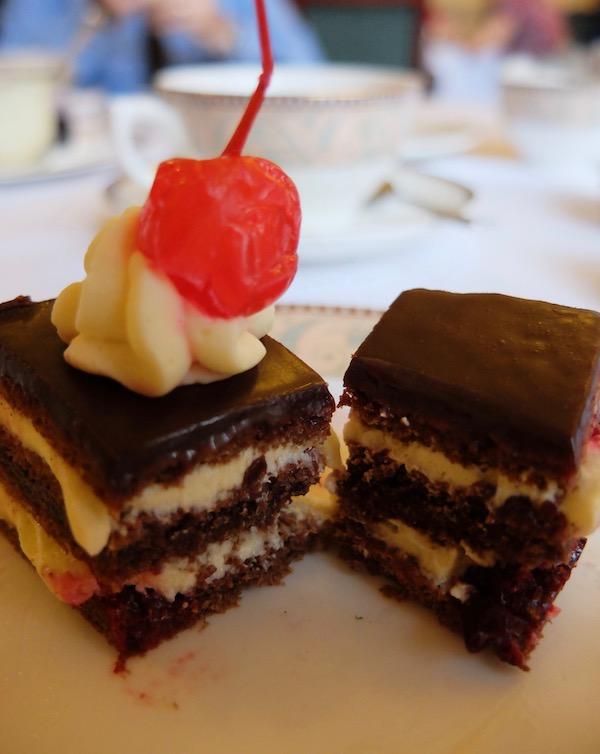 チョコレートとブラックカラントの入った濃厚なお味のチョコレートケーキ