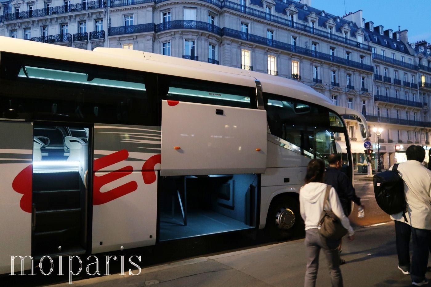 モンサンミッシェル旅行、バス、乗り込む。