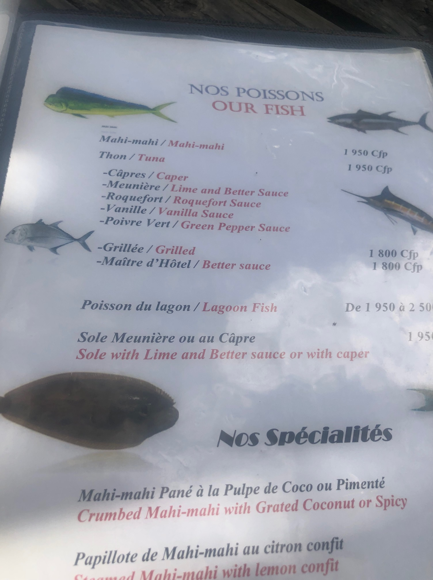 タヒチ、フアヒネ島、レストラン、メニュー